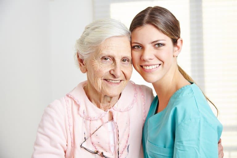 A Nurse and a Home Health Care Patient