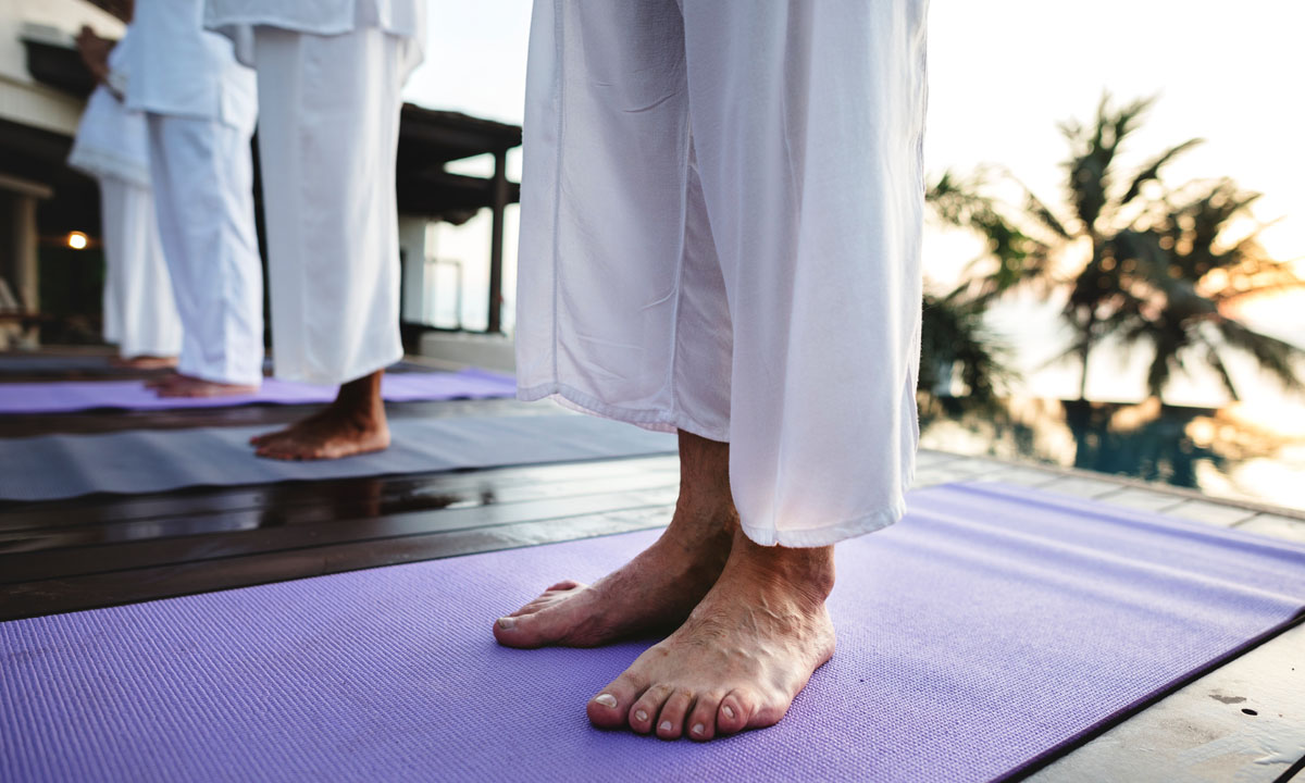 foot on the yoga mat