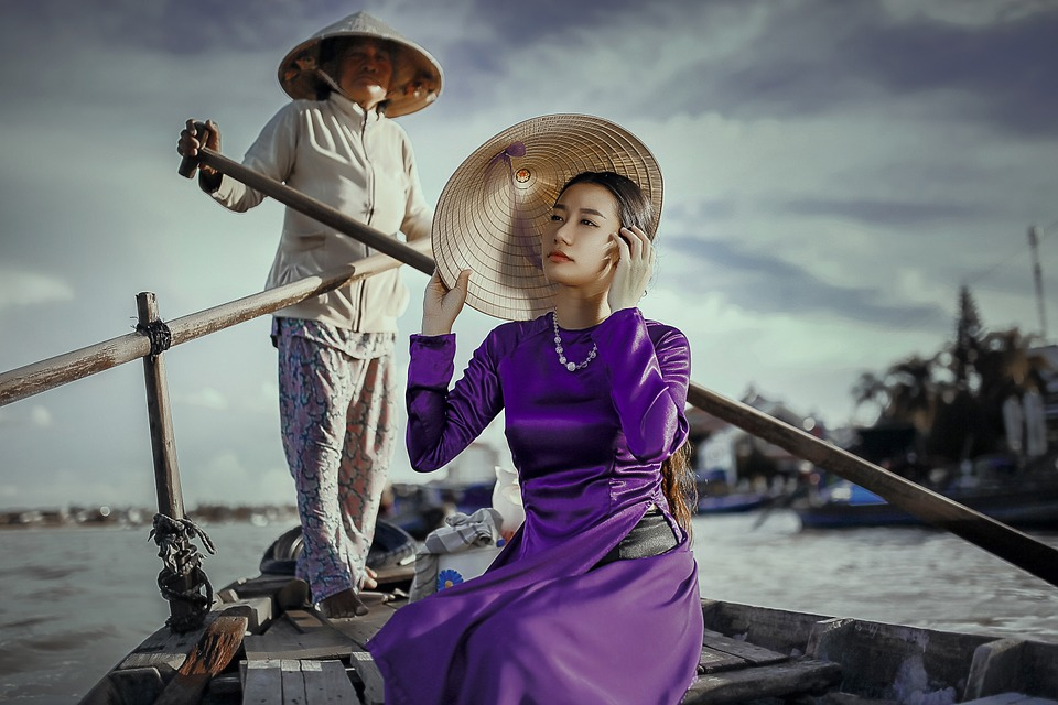 lady in boat with dress