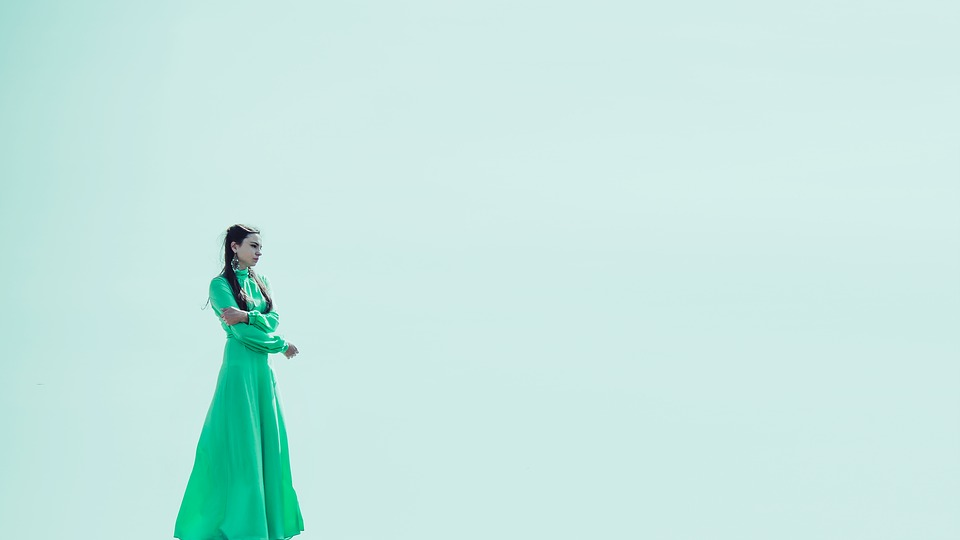 lady with a long green dress