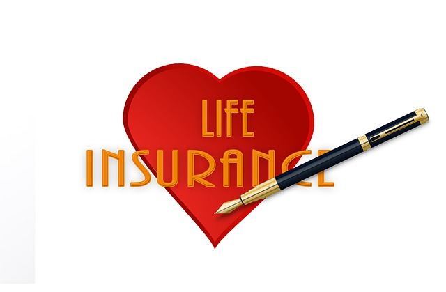 life insurance in heart and a pen